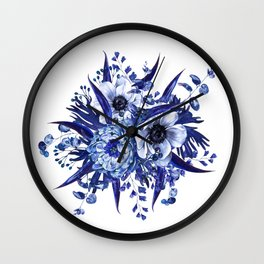 Blue China Porcelain, Flower, Floral Wall Clock