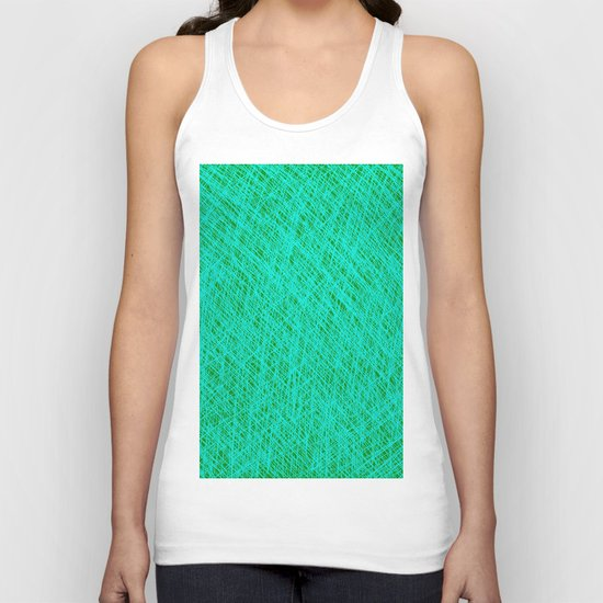 Expressive Blue (Abstract green and cyan) Unisex Tank Top