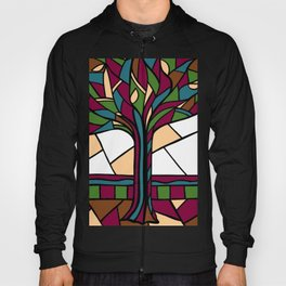 Stained Glass Tree Design - Burgundy Hoody
