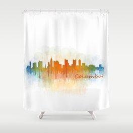 Columbus Ohio, City Skyline, watercolor  Cityscape Hq v3 Shower Curtain