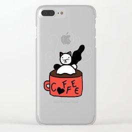 Coffee Cat Clear iPhone Case