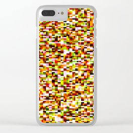 Red yellow pixel noise static pattern Clear iPhone Case