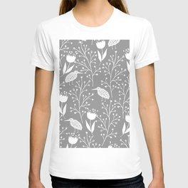 Kiwi Garden - Light Gray and White T-shirt