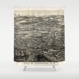 Aerial View of Kingston, New York (1875) Shower Curtain