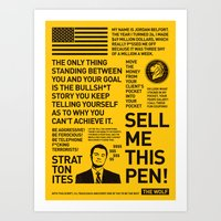 wolf of wall street Art Prints featuring  The Wolf of Wall Street by justjeff