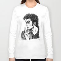 """david tennant Long Sleeve T-shirts featuring The Doctor - David Tennant - """"Fingers on Lips!"""" by ieIndigoEast"""
