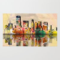 miami Area & Throw Rugs featuring miami  by mark ashkenazi