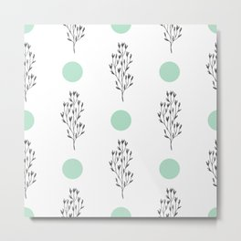 Black brunches & green dots pattern Metal Print