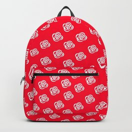 White Rose, Red Background Backpack