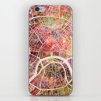 moscow iPhone & iPod Skins featuring Moscow Map by MapMapMaps.Watercolors