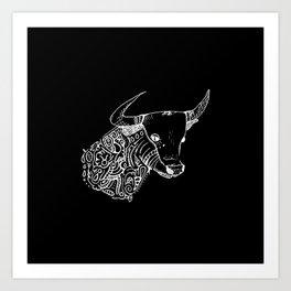 TAURUS - inverted bull - zodiac doodle series abstract Art Print Art Print