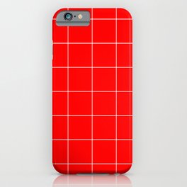 Graph Paper (White & Red Pattern) iPhone Case
