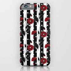 Retro. Red poppies on a black and white striped background. iPhone 6s Slim Case