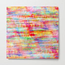 Light Rainbow Tie Dye Stripes Metal Print