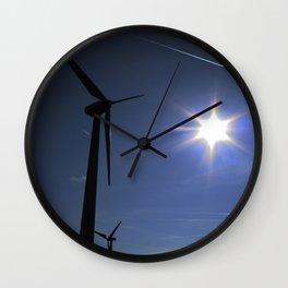 Windfarm and Blue Sky Wall Clock