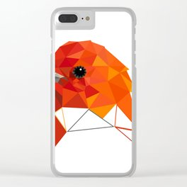 Bird art Summer tanager Orange bird Geometric art Clear iPhone Case