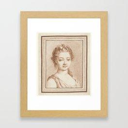 Bust of a young girl, Louis Marin Bonnet, 1757 - 1793 Framed Art Print