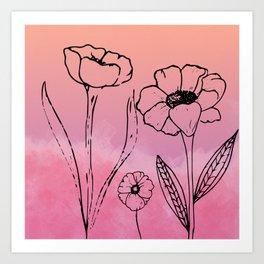 Floral Sunset Art Print