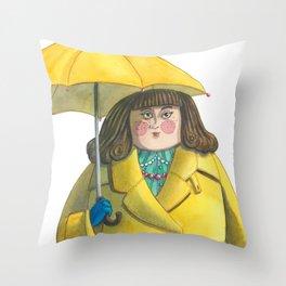 Glória e Mimi chic à chuva - Gloria and Mimi chic under the rain Throw Pillow