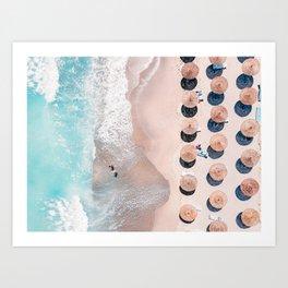 People Umbrellas On Beach, Aerial Beach, Sea Print, Ocean Waves, Summer Vibes, Orange and Teal, Art Print Art Print