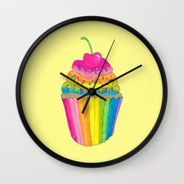 Rainbow Cupcake with Sprinkles with Yellow Background Wall Clock