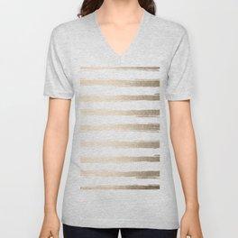 Simply Brushed Stripes White Gold Sands on White Unisex V-Neck