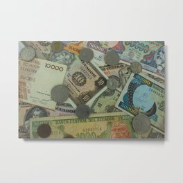 Ecuadorian Coins and Paper Money Metal Print