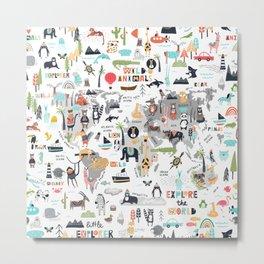 Animals World Map Animal Travelers Gray Metal Print