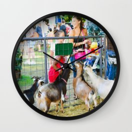 Goats at county fair Wall Clock