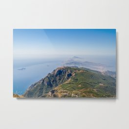 View of Punta Campanella and Capri Island from Mount Faito, Bay of Naples, Italy Metal Print