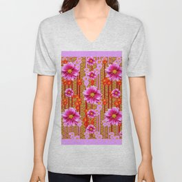 Lilac Purple Dahlia Flowers Orange Abstract Pattern Unisex V-Neck