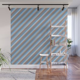 Blue Grey White Inclined Stripes Wall Mural