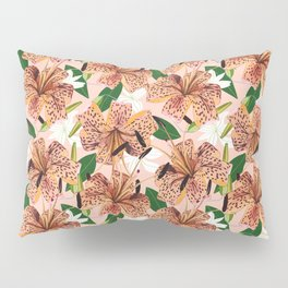 Tiger Lillies, Tropical Blush Botanical Illustration, Polka Dots Nature Vibrant Floral Jungle Pillow Sham