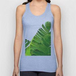 Palm banana leaves tropical watercolor illustration Unisex Tank Top