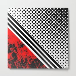 Red lines and dots Metal Print