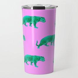 Vintage Cheetahs in Lilac + Jade Travel Mug
