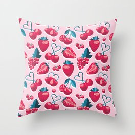 Cherries, berries and strawberries // pink background red fruits Throw Pillow