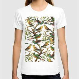 Colorful red green tropical birds parakeets pattern T-shirt