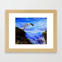 a sea bird aloft Framed Art Print