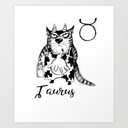Funny Taurus Cat Zodiac May Shirt Birthday Gift Art Print