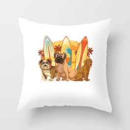 Dog Surfer Surf Funny Dog Surfing Sports Gift Throw Pillow