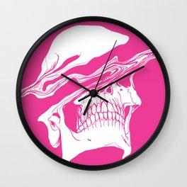 Liquify skull in hot pink Wall Clock