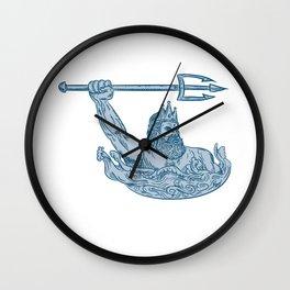 Poseidon Wielding Trident Drawing Wall Clock