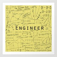 engineer Art Prints featuring Yellow - Engineer by Be Raza
