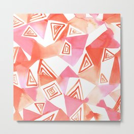 Geo Triangle Peach Metal Print