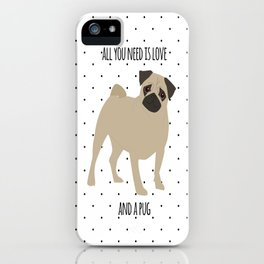 Love And Pugs iPhone Case