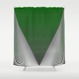 Graphic in green and black Shower Curtain