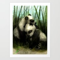 pandas Art Prints featuring Pandas by Gilthonniel's Shop