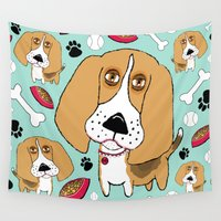 beagle Wall Tapestries featuring Beafus the Bad Boy Beagle by Amy Gale