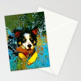 border collie jumping in water vector art Stationery Cards